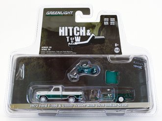 Chase 1:64 Hitch & Tow Series 20 - 1972 Ford F-100 & Utility Trailer w/1920 Indian Scout Motorcycle *** Green Body ***