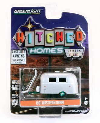Chase 1:64 Hitched Homes Series 8 - Airstream 16' Bambi w/Silver Awning