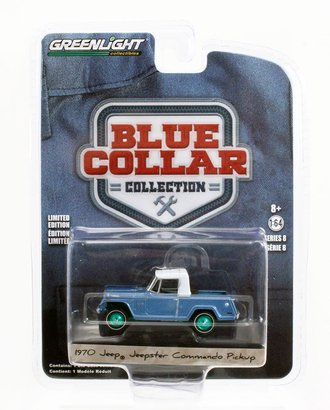 Chase 1:64 1970 Jeepster Commando Pickup (Light Blue Metallic w/White Roof)