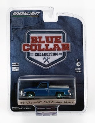 Chase 1:64 1981 Chevrolet Custom Deluxe 20 w/Bed Cover (Light Blue Poly)