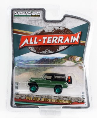 Chase 1:64 1968 Jeep Jeepster Commando w/Soft-Top & Off-Road Parts (Dark Green)