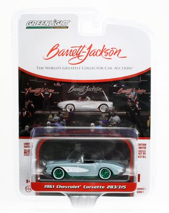 Chase 1:64 1961 Chevrolet Corvette Convertible (Lot #681) - Sateen Silver w/Black Interior