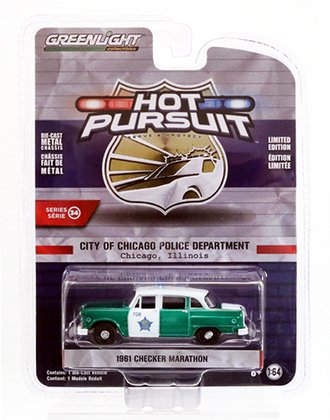 "Chase 1:64 1961 Checker Marathon ""City of Chicago Police Department"" *** Green Body ***"