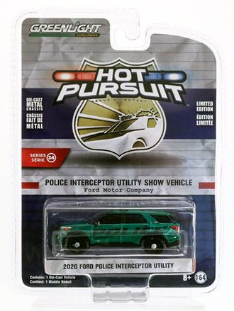 Chase 1:64 2020 Ford Police Interceptor Utility Show Vehicle  *** Green Body ***