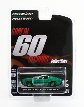 Chase 1:64 Gone in 60 Seconds (2000) 1967 Ford Mustang Eleanor *** GREEN Body ***