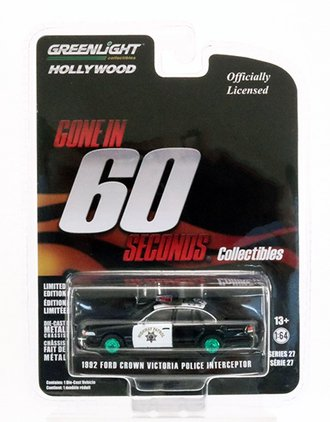 "Chase 1:64 Hollywood Series 27 - Gone in 60 Seconds (2000) 1992 Ford Crown Victoria ""California HP"""