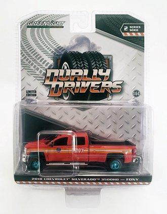 "Chase 1:64 2018 Chevrolet Silverado 3500 Dually Pickup ""FDNY"" (Red)"