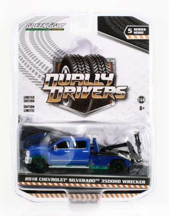 Chase 1:64 2018 Chevrolet Silverado 3500 Dually Wrecker (Blue)