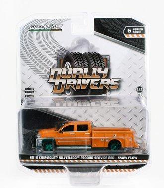 Chase 1:64 2018 Chevrolet Silverado 3500 Dually Service Bed (Tangier Orange w/Snow Plow)