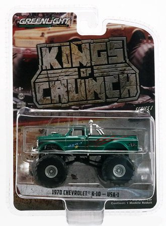 "Chase 1:64 Kings of Crunch Series 1 - 1970 Chevy K-10 Monster Truck ""USA-1"" *** GREEN Body ***"