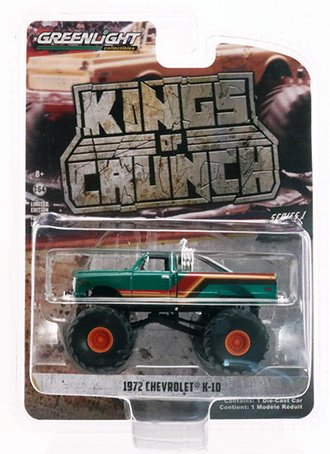 Chase 1:64 Kings of Crunch Series 1 - 1972 Chevy K-10 Monster Truck *** GREEN Body ***