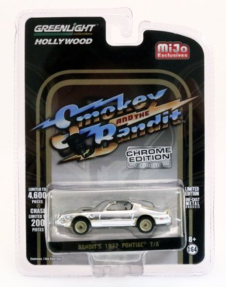 Chase 1:64 Hollywood - Smokey and the Bandit (Chrome Edition) - Bandit's 1977 Pontiac T/A (Black Chrome)