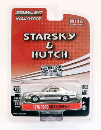 Chase 1:64 Hollywood - Starsky & Hutch (Chrome Edition) - 1976 Ford Gran Torino (Silver Chrome)