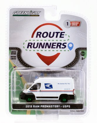 """Chase 1:64 2019 RAM ProMaster 2500 Cargo High Roof """"United States Postal Service (USPS)"""""""