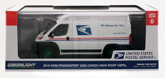 """Chase 1:43 2018 RAM ProMaster 2500 Cargo High Roof """"United States Postal Service"""" (USPS)"""
