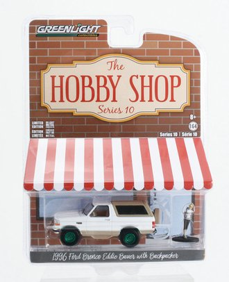 """Chase 1:64 1996 Ford Bronco """"Eddie Bauer"""" w/Backpacker (White/Light Saddle)"""