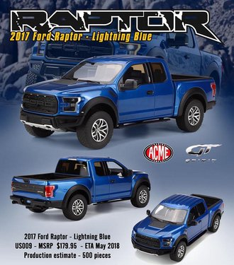 1:18 2017 Ford Raptor Pickup (Lightning Blue)