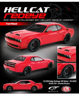1:18 2019 Dodge Challenger SRT Hellcat Redeye Widebody (Red)