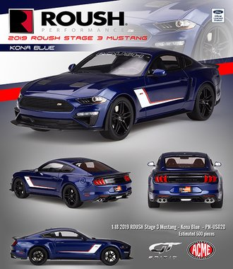 1:18 2019 Ford Mustang ROUSH Stage 3 (Kona Blue)