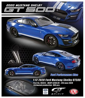 1:12 2020 Ford Mustang Shelby GT500 (Ford Performance Blue)