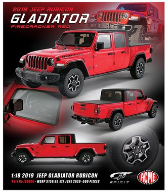 1:18 2019 Jeep Gladiator Rubicon (Firecracker Red)