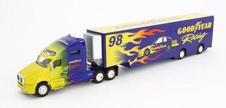 "1:64 Tractor Trailer w/Racing Trailer ""Goodyear Racing #98"" (Blue/Yellow)"