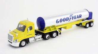 "1:64 Semi Truck w/Tanker ""Goodyear"" (Yellow/Chrome)"