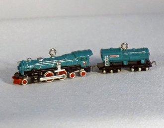 Lionel Ornament - 2003 Minature Set - Blue Comet Steam Locomotive and Tender