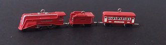 Lionel Ornament - 2009 Minature Set - The Red Comet Set - 2-4-2 Locomotive, Tender & 603 Pullman Car