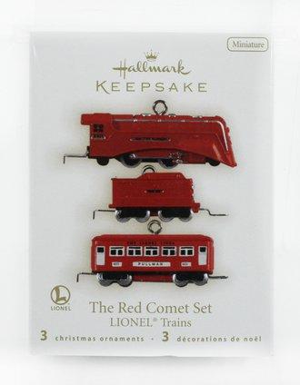 Lionel Ornament - 2009 Minature Set - The Red Comet Set - 2-4-2 Locomotive, Tender & 603 Pullman Car