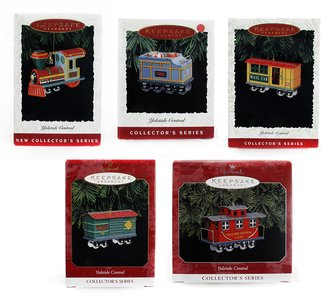 Train Ornament - Yuletide Central Set of 5 - Engine, Tender, Mail, Toy Car & Red Caboose
