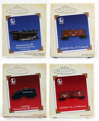 Lionel Ornament - 2005 Set - Pennsy B6, Tender, Boxcar & Caboose
