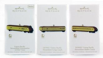 Lionel Ornament - 2010 Set - UP Streamliner, Coach & Tail Coach