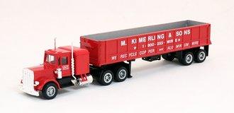 "Peterbilt Tractor w/Long Dumper Trailer ""Kimerling"" (Red)"