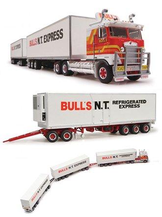 "1:64 Kenworth K100 COE Tractor w/Triple Road Train Trailers ""Bulls NT Express"""