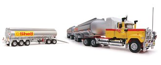 "1:64 Mack Superliner w/Triple Tanker Trailers ""Shell Oil"" (Yellow/Chrome)"