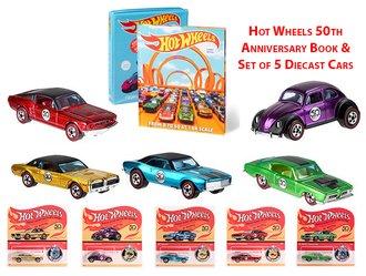1:64 Hot Wheels 50th Anniversary Book & Set of 5 Diecast Cars