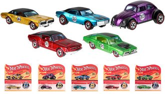 1:64 2018 Hot Wheels 50th Anniversary w/Button (Set of 5)