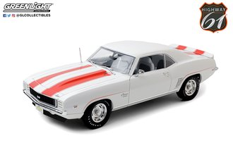 1:18 1969 Chevrolet Camaro Z10 'Pace Car Coupe' (Wht w/Orange Stripes & Blk Houndstooth Int)