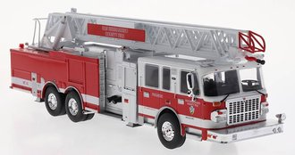 "1:43 Smeal 125' Rear Mount Fire Ladder Truck ""San Bernardino"" (Red/White)"