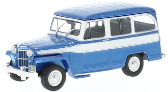 1:43 1960 Jeep Willys Station Wagon (Blue Metallic/White)