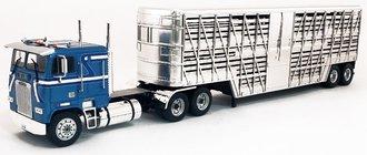 1:43 1993 Freightliner FLA COE Tractor (Blue Metallic) w/Livestock Trailer