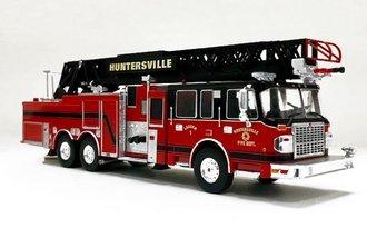 "1:43 Smeal 125' Rear Mount Fire Ladder Truck ""Huntersville"" (Red/Black)"