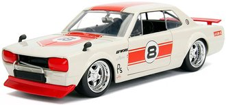 "1:24 JDM Tuners - 1971 Nissan Skyline 2000 GT-R ""#8"" (White/Red)"
