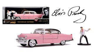 1:24 Hollywood Rides - Elvis 1955 Cadillac Fleetwood (Pink) w/Elvis Presley Figure