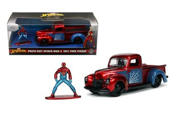 1:32 Hollywood Rides - Spider-Man Proto-Suit Spider-Man & 1941 Ford Pickup (Red/Blue)