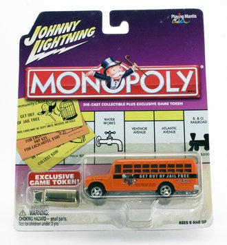 """1:64 Monopoly - 1956 Chevy Bus """"Get Out Of Jail Free"""" (Orange/Black)"""