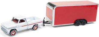 1:64 1965 Chevrolet Stepside w/Enclosed Car Trailer (Gloss White/Red)