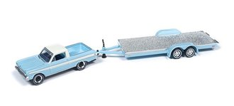 1964 Ford Ranchero w/Open Car Trailer (Light Blue)