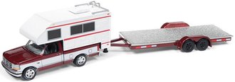 1:64 1993 Ford F-150 w/Truck Camper (Red/White) & Car Trailer (Red/Chrome)